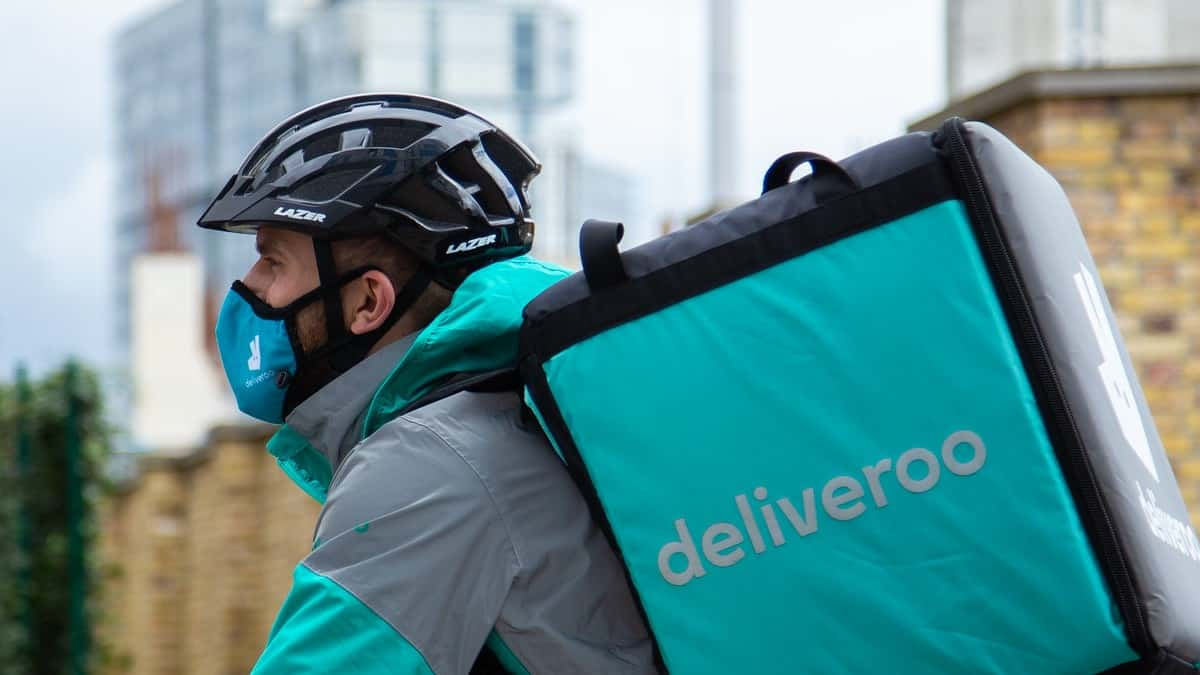 A Deliveroo rider on the move