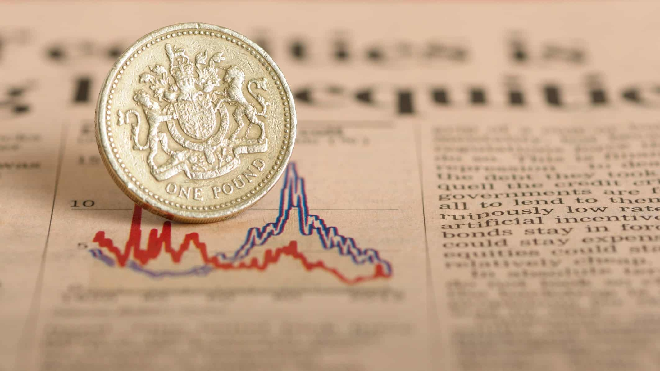 One English pound placed on a graph to represent an economic down turn